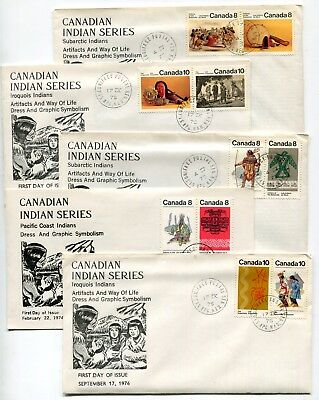 Canada FDC 1974 - 1976 Indian Series - 5 Diff - Winnipeg MB Cachet Covers