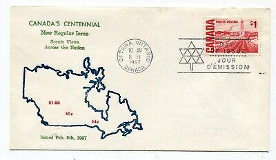 Canada FDC 1967 QEII Centennial $1 High Value - Grover Thermal Ink Cachet Cover