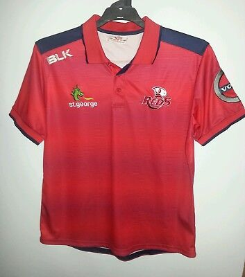 Queensland Reds Rugby Blk Polo Jersey Shirt Size Large Mens New Volvo