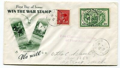 Canada FDC 1942 War Issue - 3c / Special Delivery - Win the War Patriotic Cachet