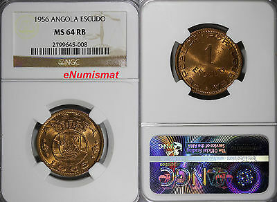 Angola Bronze 1956 1 Escudo NGC MS64 RB 26 mm NICE RED TONING   KM# 76
