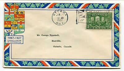 Canada FDC 1927 Confederation Issue - George Eppstadt Cachet Cover - Flag Cancel