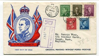 Canada FDC 1950 George VI Postes Postage Omitted - Jan 23rd - Patriotic Cachet