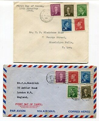 Canada FDC 1949 George VI Postes Postage - Two Sets on Pair of Covers -