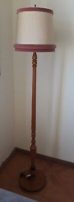 Vintage wooden floor lamp french provincial shabby chic  base turned wood
