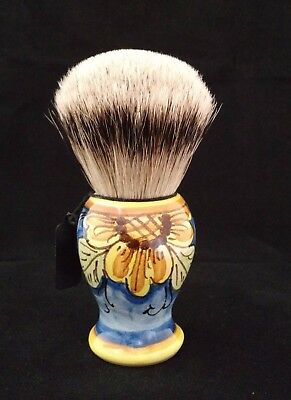 Handcrafted Sicilian Ceramic Silvertip Badger Brush by Zenith. 28mm Knot. P7
