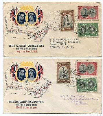 Canada FDC 1939 Royal Visit / Royal Train - French / English CDS - Two Covers