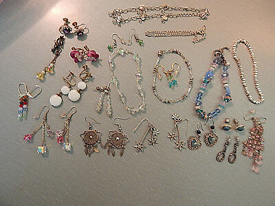 Vintage lot of unsearched/unknown estate Earrings/Bracelets many Crystal