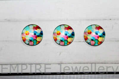 2 x Hexagon Pattern #1 12x12mm Glass Cabochons Cameo Dome Geometric