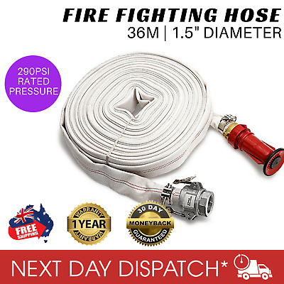 "Protégé Fire Fighting Hose 36m 1.5"" Lay Flat Canvas Camlock Adjustable Nozzle"