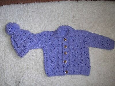 Hand Knitted Baby Clothes, Girl's / Boy's Aran Cardigan and Matching Hat.