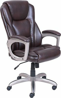 Serta Big Tall Commercial Office Chair with Memory Foam Brown Desk Computer Back