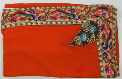 Indian Bollywood Style Saree Wedding Special Occasion Orange Matching Blouse