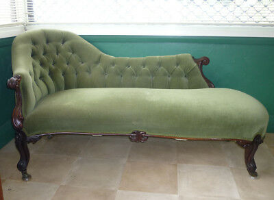 Antique Victorian Green Velvet Wingback Chaise with Hand Carvings - Great Cond