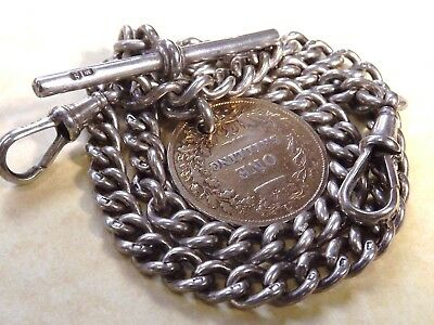 Antique Solid Silver Double Albert Watch Chain & Victorian Silver Coin Fob