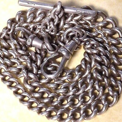 Antique 1912 Solid Silver Graduated Double Albert Watch Chain Fully Hallmarked
