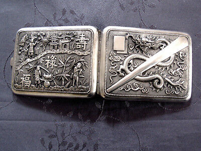 Solid Silver China Chinese Export Silver Cigarette Case Box Dragon Antique 127G