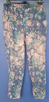 vintage 1980s Laura Ashley floral pants trousers size 14 M medium