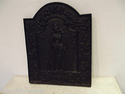 antique plate fireplace cast lady elegant with'umbrella 40 cm x 49 cm