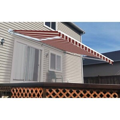 ALEKO Retractable Patio Awning 10 X 8 Ft Deck Sunshade Multistripe Red Color