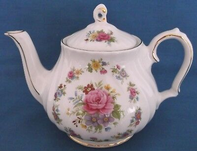 Vintage Sadler Pink Roses Bouquet Swirled Small Teapot Made In England