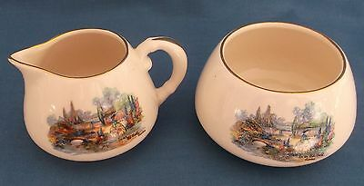 Vintage Sandland Ware Crinoline Lady In An Olde World Garden Milk Sugar Tea Time