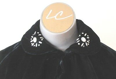 Vintage 50's Boxy Black Velvet Jacket with Metal Trim and Cream Lining