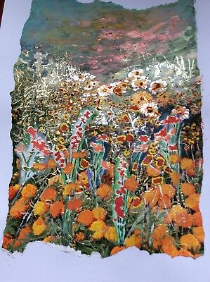 Intricate Landscape Inspired Contemporary Painting And Collage A4