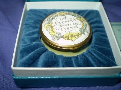 "Halcyon Days Enamel Pill Trinket Box' A PRESENT FROM A FRIEND"" boxed"