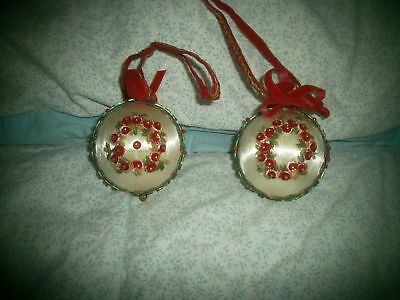2 Antique Victorian Style Christmas Ornament , Satin with Floral Beaded Design