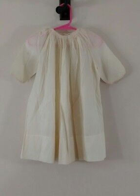Vintage Smocked Embroidered Ivory Cotton Dress For Baby or Doll