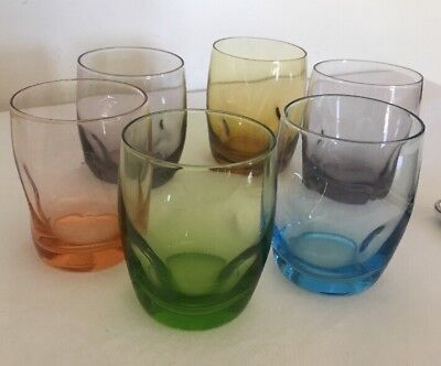 6 Vintage Harlequin Dimple Glasses Mid Century Retro Excellent Condition