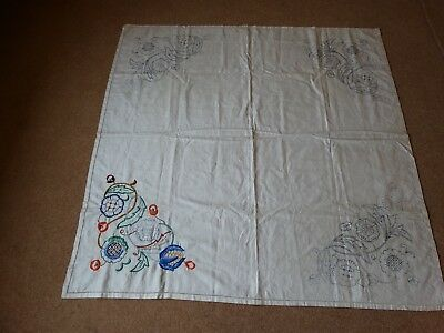 Linen Tablecloth part embroidered 42.5 sq  inches Jacobean transfer printed