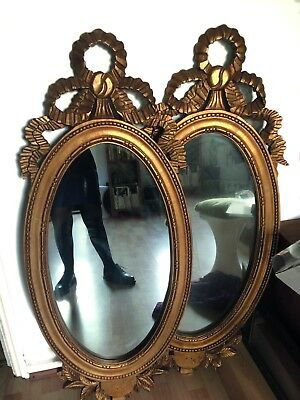 2 X LARGE FRENCH LOUIS XVI Hand Carved Oval GILT WOOD MIRRORS with Ribbon Bow