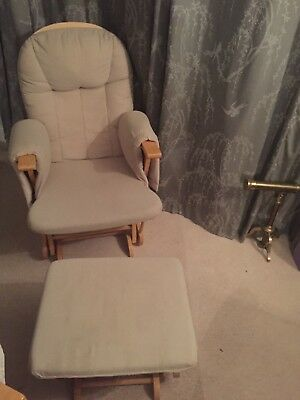 Cream and white Gliding Nursing Chair And Stool Reclining Feeding