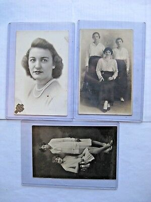 Rppc. Lot Of 3 Early 1900's. 3 Young Women Real Photo Postcards Free Shipping