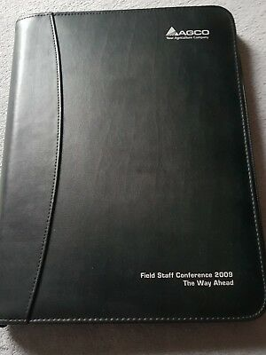Agco Black Faux Leather Zipped Document Case