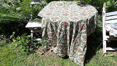 "Vintage Antique Material 104"" by 82"" Pattern Ravenwood Red Birds and Red Fruits"