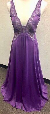 Vintage OLGA Bodysilk PURPLE Grand Sweep Nightgown Sz L/XL
