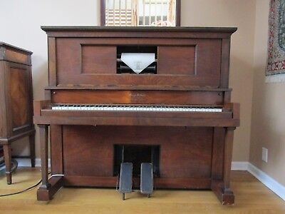 Roaring Twenties Player Piano w Antique Scroll Cabinet, 50+ Scrolls & Bench