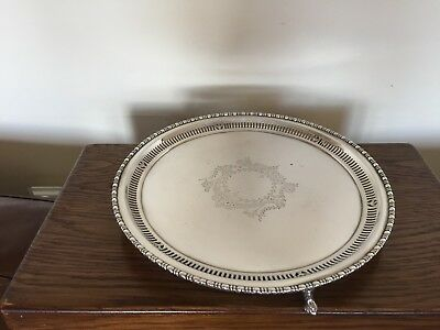"Lovely Silver Plated Pierced  Circular Salver 10"" In Diameter On 3 Feet(Spt 22Q)"