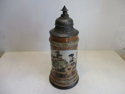 Antique HR etched stein 440 several repaired hairline cracks
