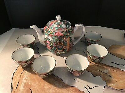 Vintage Famille Rose Medallion Teapot And 6 Cups Qing Dynasty in 22K Gold Trim