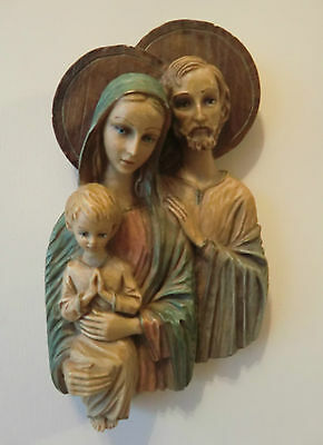 The Holy family.hand painted icon.religious, vintage, Italian - pre owned