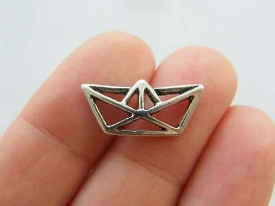 10 Paper origami boat charms antique silver tone PT141