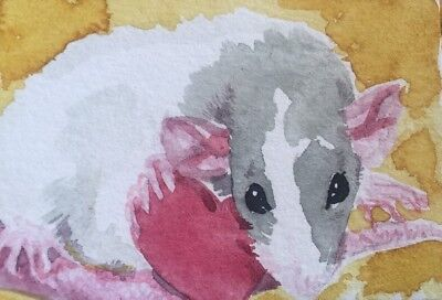 ACEO Dumbo Rat Pet Holding A Heart. A Watercolor Original Art By NFISH