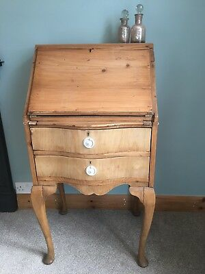 Vintage Pine Front Fall Writing Bureau/ Desk & Drawers