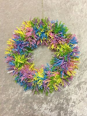 "13"" Tinsel Garland Easter Wreath 2nd Ships FREE"