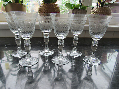 Pall Mall Lady Hamilton Balustroid Stem Wine Glasses X 6.. Free Postage