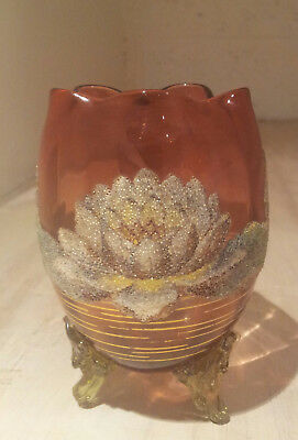 English Victorian glass vase with patent technique glass bead floral decoration.